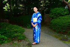 Japanese Woman Wearing Yukata Royalty Free Stock Images