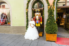 Japanese woman wears a wedding dress in Rothenburg ob der Tauber Stock Photography