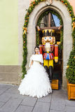 Japanese woman wears a wedding dress in Rothenburg ob der Tauber Stock Images
