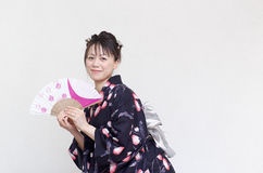 Japanese woman in a yukata Royalty Free Stock Photos