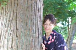 Japanese woman in a yukata Royalty Free Stock Image