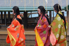 Japanese women in colorful traditional clothing take part in the Saigu Procession festival in Kyoto Stock Photo
