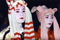 Japanese women in costume and makeup Stock Photos