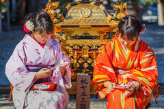 Japanese women with Kimono dress Royalty Free Stock Photo