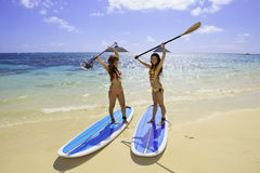 Japanese women on paddleboards Stock Photos