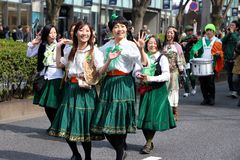 Japanese women parade for St Patrick's day Royalty Free Stock Photos