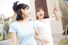 Japanese women taking a walk Stock Images