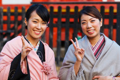 Japanese women with traditional Kimono Royalty Free Stock Photography
