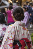 Japanese women wear a traditional dress called Kimono for Sakura Royalty Free Stock Photos