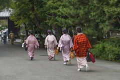 Japanese women wearing kimono in kyoto japan street Royalty Free Stock Image