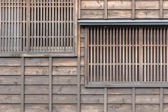 Japanese Wood window and wood wall stock photo