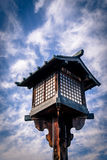 Japanese wooden lantern. Traditional Japanese wooden lantern against a blue sky Royalty Free Stock Photo