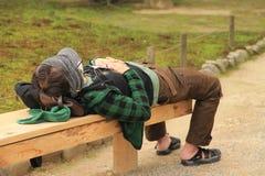 Sleeping On Duty. Worker Sleeping On Duty Kenrokuen Gardens Royalty Free Stock Photos