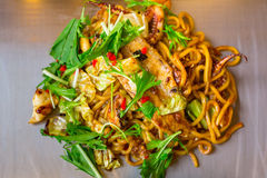 Japanese yakisoba noodles with seafood Stock Image