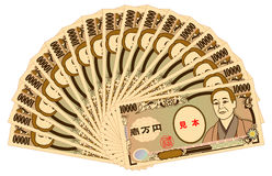 Japanese yen 10000-yen bill. Bundle of Japanese yen 10000-yen bills vector illustration