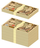 Japanese yen 10000-yen bills. Bundle of Japanese yen 10000-yen bills. Vector illustration Royalty Free Stock Photography