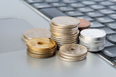 Japanese Yen. Columns of Japanese Yen on a laptop stock image