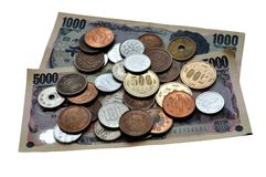 Japanese yen. An isolated picture of Japanese paper and coin money or yen Royalty Free Stock Photo
