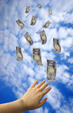 Japanese Yen. Japanese banknote flying away from hand Stock Photography