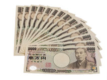 Japanese Yen bank note isolation on white Stock Image