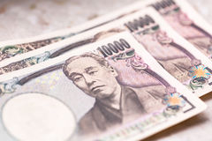 Japanese yen banknotes Stock Images