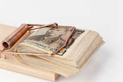 Japanese yen bills in mousetrap Royalty Free Stock Photos