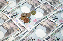 Japanese yen. Coin and Yen Bank Note, money background Stock Photo