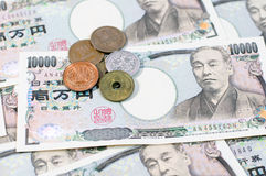 Japanese yen. Coin and Yen Bank Note, money background Royalty Free Stock Photography