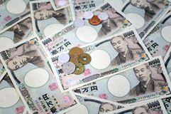Japanese yen. Coin and Yen Bank Note, money background Royalty Free Stock Images
