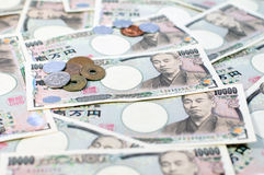 Japanese yen. Coin and Yen Bank Note, money background Stock Image