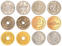 Japanese Yen coins collection Royalty Free Stock Photography