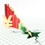 Japanese yen currency bar graph going down. Bar graph and moving down arrow with Japanese yen currency symbol Stock Images