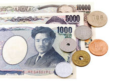 Japanese Yen currency. Bills. ฺBanknotes and Coins Royalty Free Stock Images