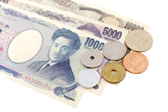 Japanese Yen currency bills. Banknotes and Coins Stock Images