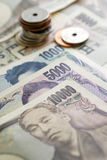 Japanese Yen currency. Bills. ฺBanknotes and Coins Stock Images