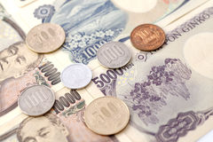 Japanese Yen currency. Japanese coins 1 yen in focus. The photo for  business concept  price promotion or money activity Royalty Free Stock Image