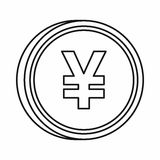 Japanese yen currency symbol icon, outline style. Japanese yen currency symbol icon in outline style isolated on white background Stock Photography