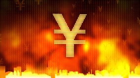Japanese yen on fiery background, gold and currency reserves, financial market. Stock footage Royalty Free Stock Photo