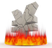 Japanese Yen and fire. Collapse of the yen. Burn intensely. Represents the exchange rate instability. Three-dimensional character of the dollar. Characters are Royalty Free Stock Photos
