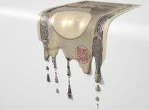 Japanese Yen Melting Dripping Banknote Stock Photography