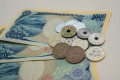 Japanese yen. Japanese money, banknotes and coins royalty free stock image