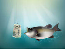 Japanese yen money paper on fish hook. Fishing using Japanese yen cash as bait, Japan investment risk concept idea Stock Image