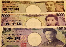 Japanese Yen Notes. Of 1000, 5000, and 10000 Stock Photo