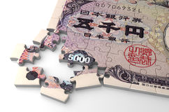 Japanese Yen Puzzle stock photos