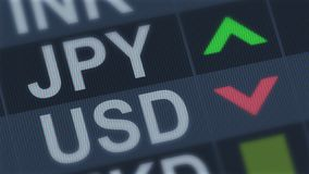 Japanese yen rising, American dollar falling, exchange rate fluctuation, finance. Stock photo royalty free stock photography