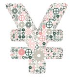 Japanese yen sign made of colored gears Royalty Free Stock Photography