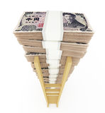 Japanese yen stack with ladder Royalty Free Stock Image