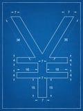 Japanese yen symbol blueprint Stock Images