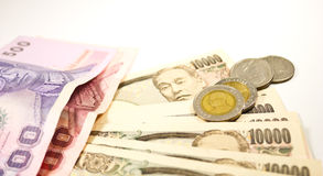 Japanese yen and thai baht Royalty Free Stock Images