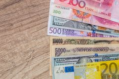 Japanese yen, US dollar, Chinese yuan, Euro. Financial concept Royalty Free Stock Photo